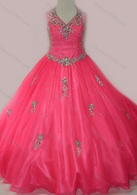 Fashionable Beaded and Applique Mini Quinceanera Dress with V Neck