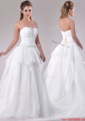 Fashionable A Line Strapless Sequined Wedding Dress in Tulle for 2016