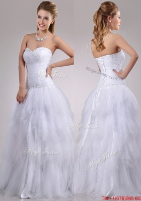 2016 Popular A Line Sweetheart Tulle Bridal Dress with Beading