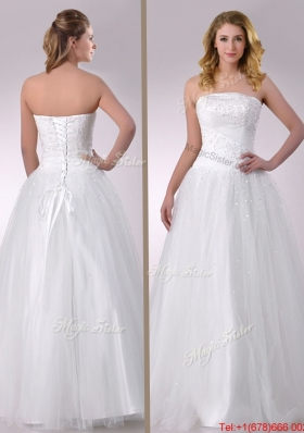 Cheap A Line Strapless Beaded Bridal Dress in Tulle for 2016