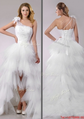 Cheap High Low Beaded and Ruffled Wedding Dress with Detachable Skirts