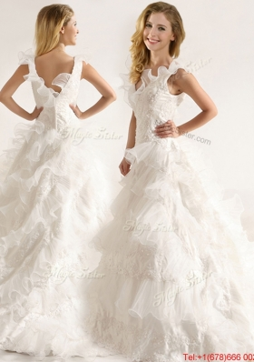Cheap Applique and Ruffled Layers Wedding Dresses with Deep V Neck