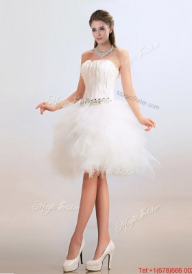 Cheap Ball Gown Short Wedding Dresses with Feather and Beading
