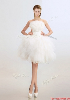 Cheap Beaded and Ruffles Wedding Dresses with Knee Length