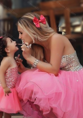 Most Popular Knee Length Lovely Prom Dress with Beading and New Style Beaded Little Girl Dress with Strapless