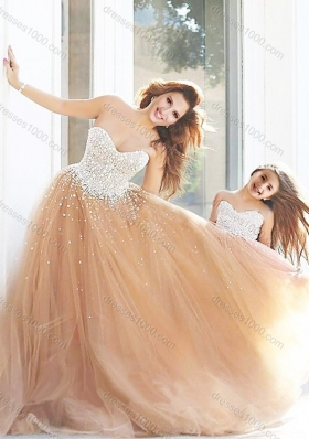 New Arrivals Beaded Lovely Prom Dress with Brush Train and Cheap Sweetheart Little Girl Dress with Beading
