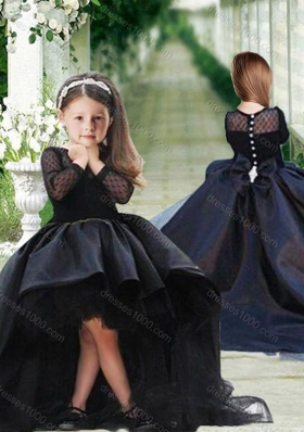 New Arrival See Through Long Sleeves Flower Girl Dress in Black