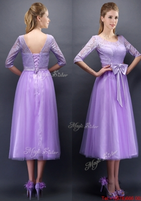 2016 Cheap See Through Scoop Half Sleeves Bridesmaid Dress with Bowknot