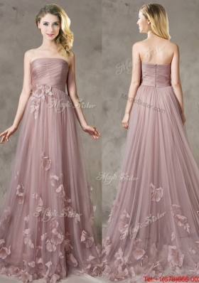2016 Classical Strapless Brush Train Bridesmaid Dress with Appliques
