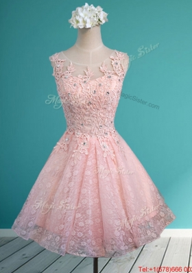 Best Scoop Beading and Appliques Short Bridesmaid Dress in Baby Pink