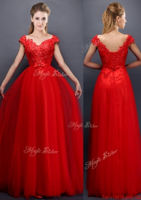 Classical Beaded V Neck Red Bridesmaid Dress with Cap Sleeves
