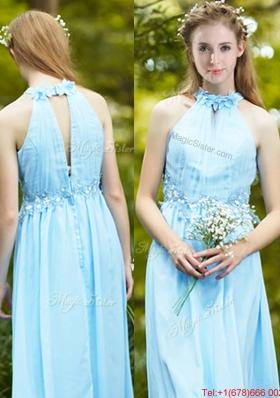 Discount Halter Top Light Blue Bridesmaid Dress with Appliques