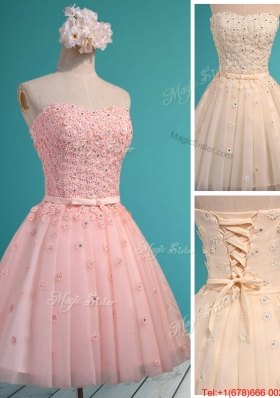 Exquisite Applique and Beaded Sweetheart Bridesmaid Dress in Mini Length