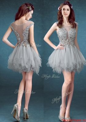 Gorgeous Scoop Appliques and Ruffles Bridesmaid Dress in Grey