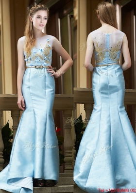 Modest Mermaid Applique Brush Train Bridesmaid Dress in Light Blue