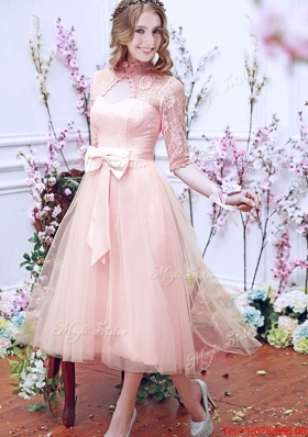 See Through High Neck Half Sleeves Bridesmaid Dress with Bowknot