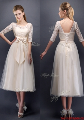 See Through Scoop Half Sleeves Champagne Bridesmaid Dress with Bowknot