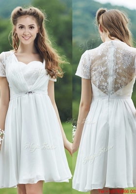 See Through Short Sleeves White Bridesmaid Dress with Belt and Lace