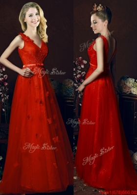 2016 Best V Neck Brush Train Dama Dresses with Belt and Butterfly Appliques