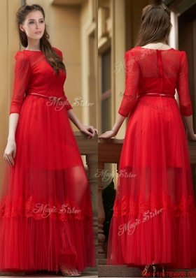 2016 Cheap Empire Bateau Belted and Applique Dama Dresses  in Ankle Length