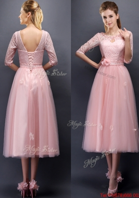 2016 Comfortable Scoop Half Sleeves Prom Dresses  with Hand Made Flowers and Appliques