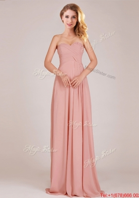 2016 Fashionable Empire Chiffon Ruched Long Dama Dresses in Peach