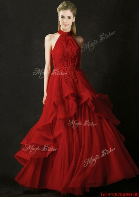 2016 Modest A Line Halter Top Tulle Dama Dresses  with Appliques