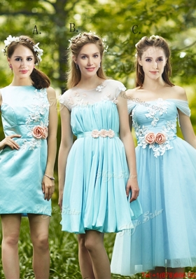 2016 Most Popular Light Blue  Dama Dresses with Appliques for Spring