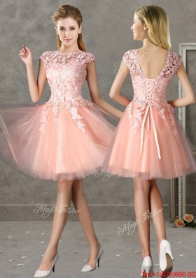 2016 New Style Bateau Peach Short Dama Dresses  with Lace