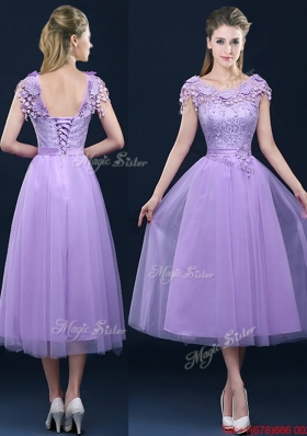 2016 New Style Cap Sleeves Lavender Dama Dresses  with Lace and Appliques