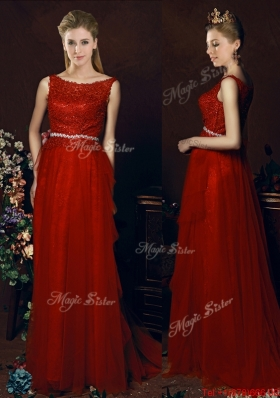 2016 Popular Belted Empire Scoop Red  Dama Dresses with Brush Train