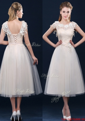 2016 Pretty Tea Length A Line Dama Dresses with Cap Sleeves