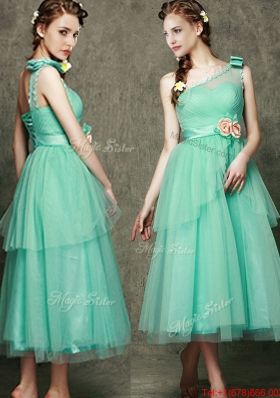 2016 See Through One Shoulder Prom Dresses with Bowknot and Hand Made Flowers