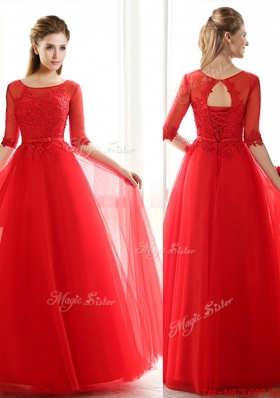 2016 See Through Scoop Half Sleeves Red Prom Dresse with Lace and Belt