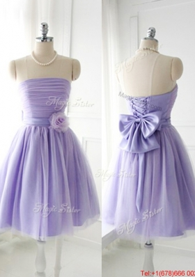 2016 Simple Handcrafted Flower Tulle Lavender  Dama Dresses with Strapless