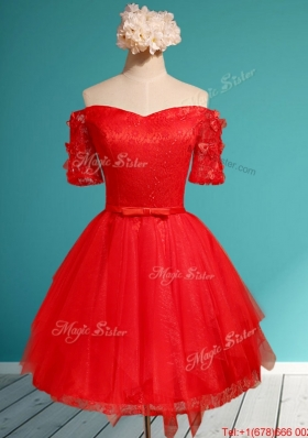 Comfortable Off the Shoulder Short Sleeves Red Dama Dresses  with Appliques and Belt
