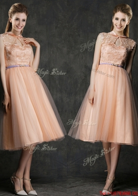 Popular High Neck Peach Prom Dresses  with Sashes and Lace