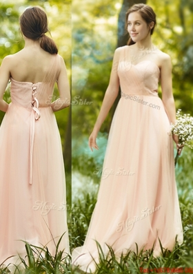 See Through One Shoulder Peach  Prom Dresses in Floor Length