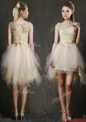 See Through Scoop Champagne Prom Dresses  with Appliques and Belt