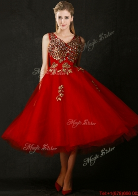 2016 Beautiful V Neck Tea Length Prom Dresses with Beading and Appliques