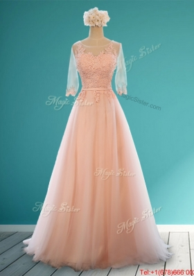 2016 Classical Scoop Half Sleeves Prom Dresses with Appliques and Belt