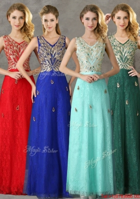 2016 Fashionable V Neck Long Dama Dresseswith Appliques and Beading