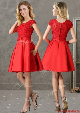 2016 Gorgeous Scoop Cap Sleeves Red Prom Dresses  with Lace and Bowknot
