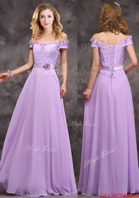 2016 Latest Off The Shoulder Long Prom Dresses with Hand Made Flowers