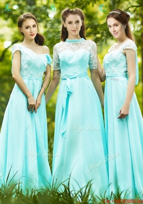 2016 Lovely Chiffon Empire Long Prom Dresses  in Apple Green