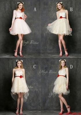 2016 Most Popular Champagne Mini Length Bulk Sale Dama Dresses  with Belt