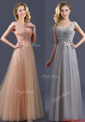 2016 New Arrivals Empire Floor Length  Bulk Sale Dama Dresses  with Appliques