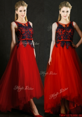 2016 Perfect High Low Belted and Black Applique Prom Dresses  in Red