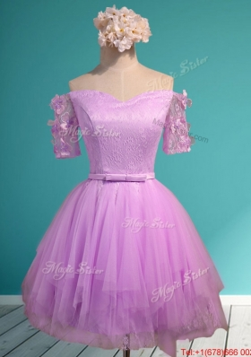 2016 Sweet Lilac Off the Shoulder Short Sleeves Prom Dresses with Appliques and Belt