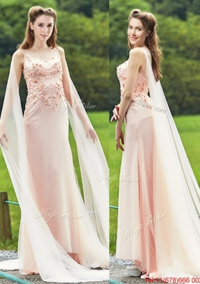 2016 Unique Bateau Watteau Train Light Pink Prom Dresses with Applique